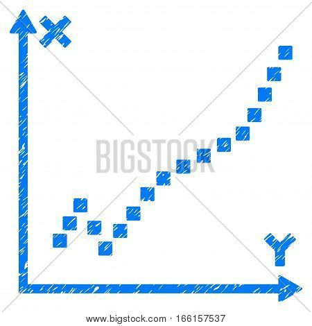 Function Plot grainy textured icon for overlay watermark stamps. Flat symbol with dust texture. Dotted vector blue ink rubber seal stamp with grunge design. Designed with square dots.