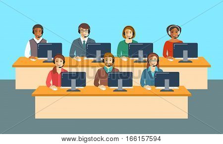 Call center agents team at office. Flat vector banner. Customer care operators guys and girls with smiling faces sitting at desks with computers. Online support service assistants with headphones.