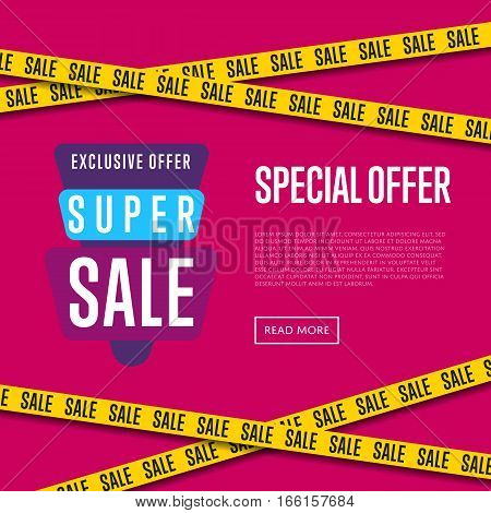 Special offer website template vector illustration. Super sale tag, exclusive offer promo, advertisement retail banner, exclusive price ad, special discount flyer. Modern graphic style offer concept