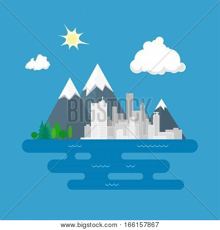 City Against Mountains, Big City on the Sea, Landscape ,Flat Design