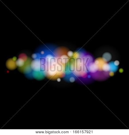 Soft Bright Abstract Bokeh Background, Colored Bright Lights on Black Background, Defocused Lights