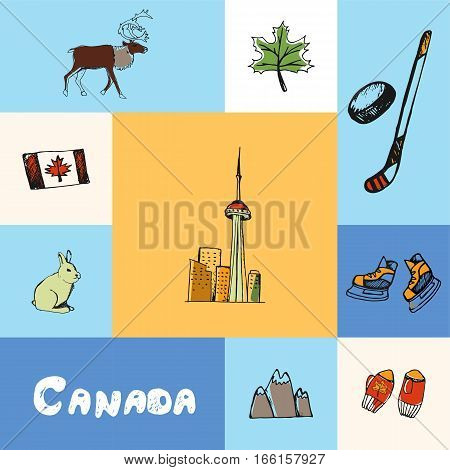 Checkered concept with canadian national and country related symbols. Maple leaf, reindeer, flag, hare, mountains, mittens, hockey stick, puck, skates, toronto CN tower hand drawn vector icons set
