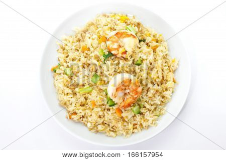 Asian food Shrimp fried rice with vegetable on white background
