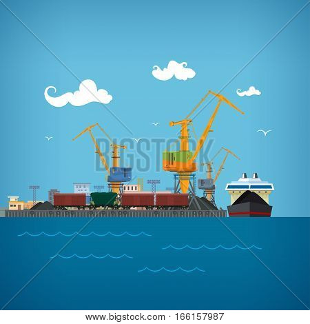 Cargo Sea Port ,Unloading Coal or Ore from the Dry Cargo Ship ,Cranes Load Coal on the Dry Cargo Ship, Logistic , Sea Freight Transportation, Port Warehouses and Cranes ,Train Wagons for Bulk Cargo