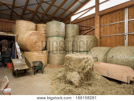 Hay and straw in a horse stable