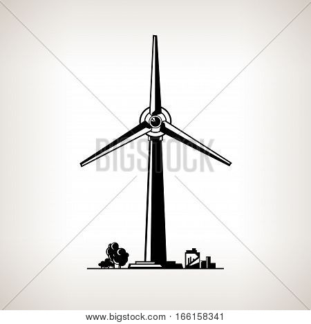 Silhouette Wind Turbine on a Light Background, Horizontal Axis Wind Turbine, Black and White Illustration