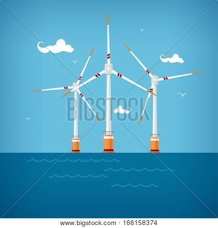 Wind Turbines in the Sea, Horizontal Axis Wind Turbines in the Sea off the Coast, Offshore Wind Farm