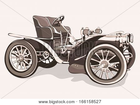 Vintage Car. Old Retro Drawing Machine With An Open Top. Vector Isolated Illustration In Style Sepia