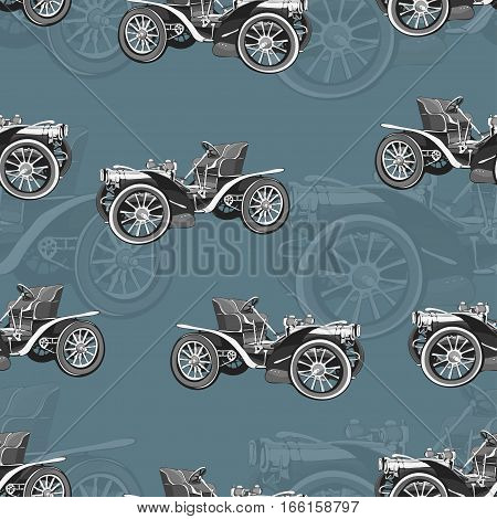 Vintage Car Seamless Pattern, Old Retro Black And White Drawing Machine, Cartoon Vector Background.