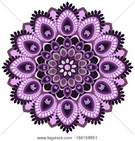 Mandala In Violet Tones. East, Ethnic Design, Oriental Pattern, Round Ornament. For Use In Fabric ,