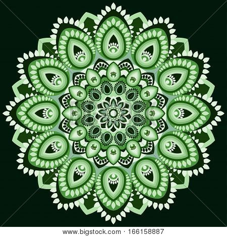 Mandala In Shades Of Green. East, Ethnic Design, Oriental Pattern, Round Ornament. For Use In Fabric