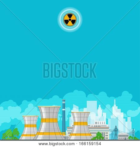Nuclear Power Plant on the Background of the City, Thermal Power Station, Nuclear Reactor and Power Lines ,Poster Brochure Flyer Design, Radiation Sign