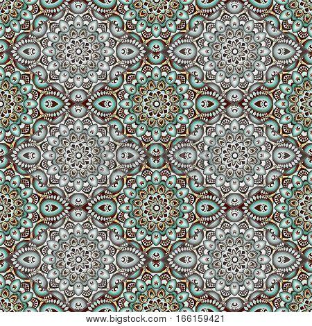 Ornamental Seamless Pattern. East, Oriental Design, Ethnic Style. Vector Background Of Mandala. Isla