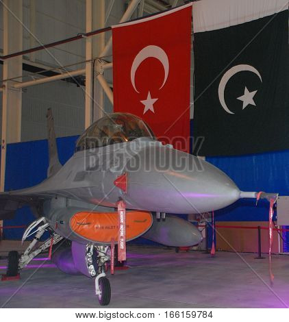 ANKARA, TURKEY - SEPTEMBER 2: F-16 Fighting Falcon aircraft at the TAI's Aircraft Hangar during the
