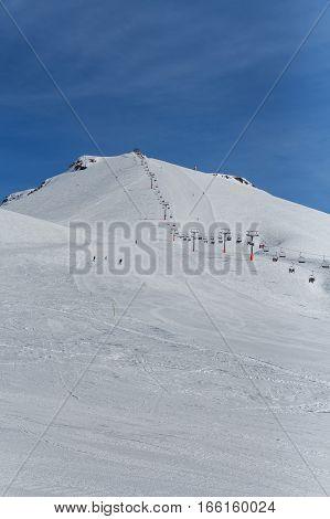 Slope on the skiing resort in Gudauri Georgia