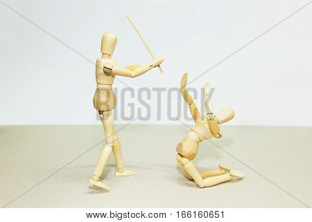 Wooden Doll In Action