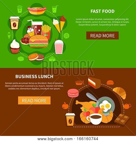 Fast food online menu options 2 flat banners webpage design with business lunch and family meal vector illustration