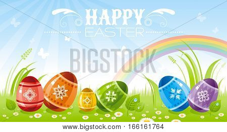 Happy Easter banner border. Spring landscape - sky background, egg, grass, leaves, rainbow. Springtime nature. Horizontal vector illustration. Flat greeting card. Text lettering