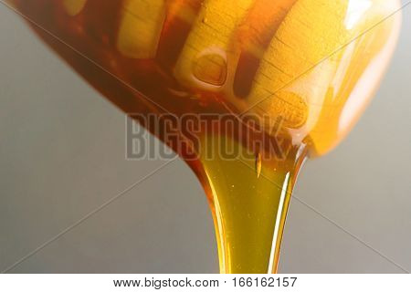 Honey Dipper Close-up. Honey Dripping From A Wooden.