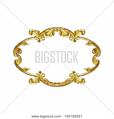 3d illustration set of an ancient gold element on a white background