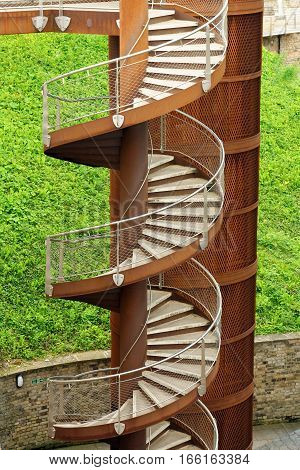 Close up of a metal spiral staircase