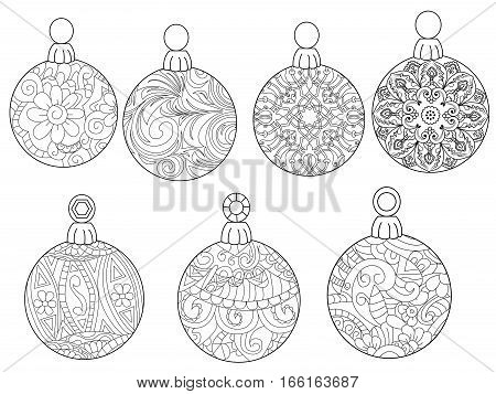 Christmas balls coloring book for adults vector illustration. Anti-stress coloring for adult. Zentangle style. Black and white lines. Lace pattern feline