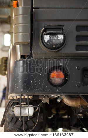 Head lights and turn signals close-up truck