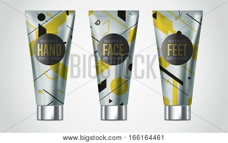 Realistic hand cream beauty cosmetic product plastic container vector. Hand cream, lotion or face cream tube. Cosmetic packaging template. Cosmetic beauty products. 3d cosmetic bottle. Hand cream cosmetic bottle. Body care professional series cosmetic