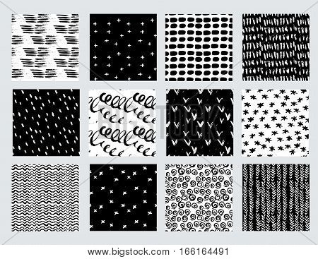 Vector set of hand drawn seamless pattern made witn ink. Freehand textures for fabric polygraphy web design.