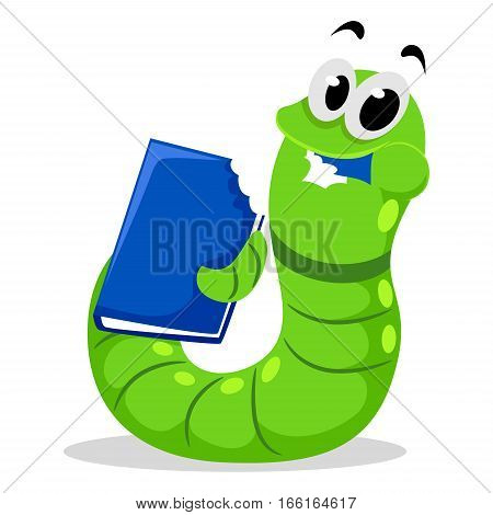 Vector Illustration of Worm eating Blue Book