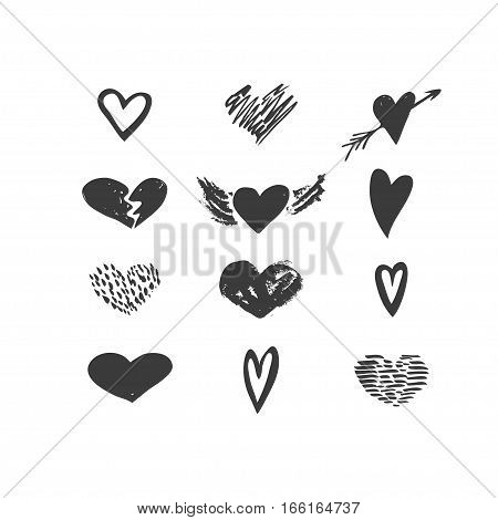 Vector hand drawn hearts icon set. Love valentine wedding relationship holiday theme. Black and white isolated icons for polygraphy web design logo app UI.