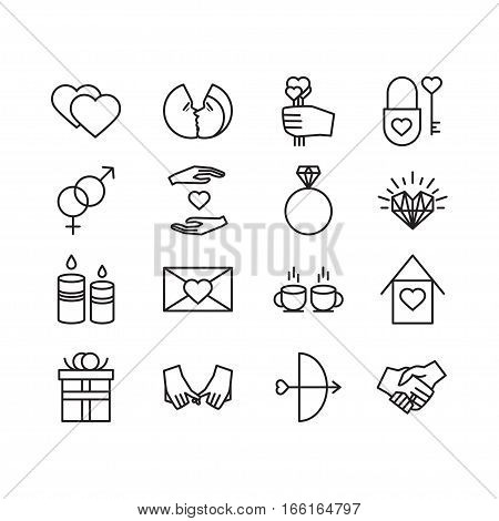 Vector valentine line icons set. Love couple relationship holiday theme. Line isolated icons for polygraphy web design logo app UI.