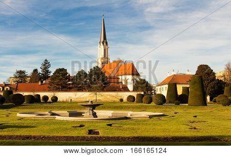 Catholic parish church Maria Hietzing view from the Schonbrunn garden Vienna Austria.