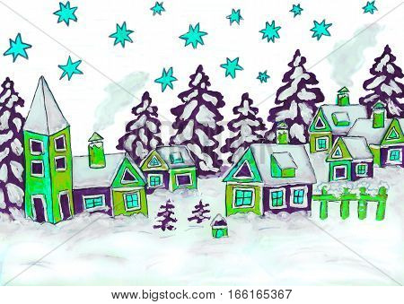 Winter landscape with houses in green and blue colours illustration painting gouache. Can be used as Chirstmas and Yew Year illustration.