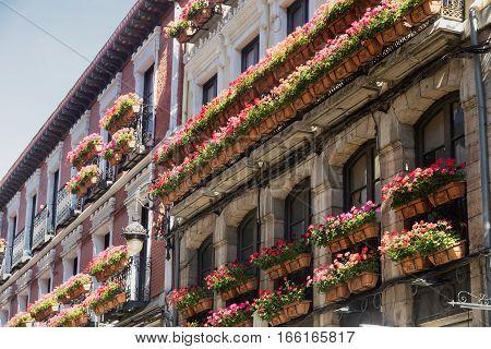 Leon (Castilla y Leon Spain): historic building in Calle San Pedro with typical veranda
