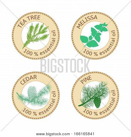 Set of 100 percent essential oils labels. Pine tree, Cedar, Tea tree, melissa symbols. Logo collection. Vector illustration. Brown stamps. For stickers, price tags, labels, aromatherapy, banner poster