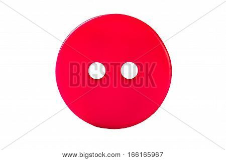 Red sewing button isolated on white background.