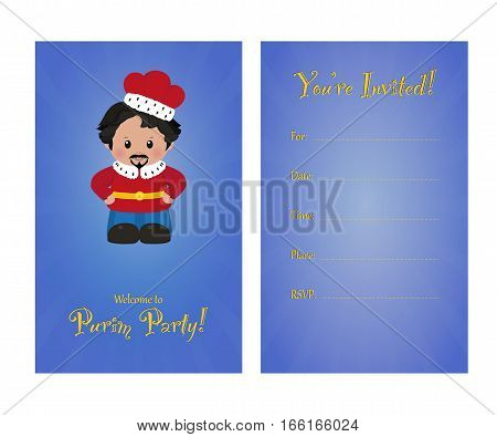 Invitation to purim party card invitation with Achashverosh for children's party. Template of card invitation front and back page vector illustration.