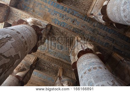 Interior and Carved Hypostyle Hall at Ancient Dendera Temple in Egypt
