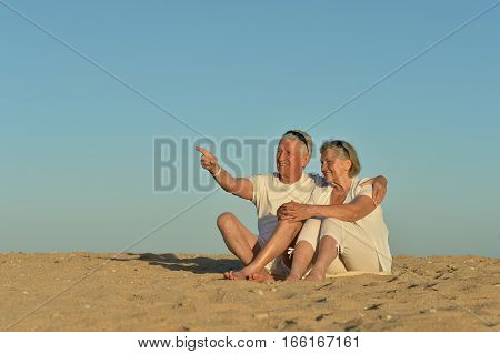 Happy mature couple relaxing on a beach