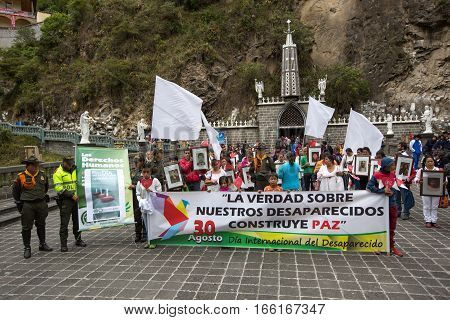 August 30 2016 Las Lajas Colombia: silent demostration in the front of the sanctuary honoring the dissapeared relatives