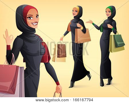 Beautiful smiling Muslim Arab woman in abaya and hijab with shopping bags. Vector set of character in different poses.