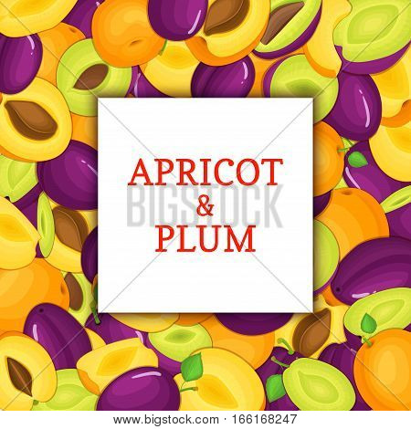 The Square white frame on ripe apricot plum fruit background. Vector card illustration. Delicious juicy plums apricots peeled, piece of half, slice, seed. appetizing looking for packaging design