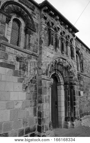 An exterior view of the architecture of Dalmeny church