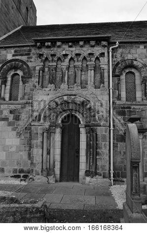 A view of the narrow church door at Dalmeny