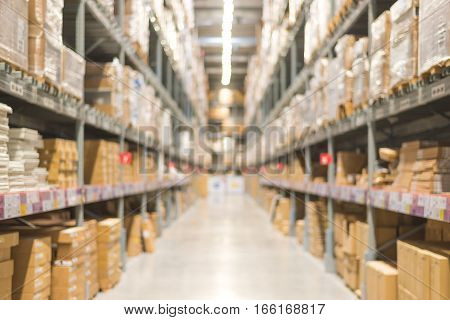 Abstract blur warehouse or storehouse background. Interior of warehouse