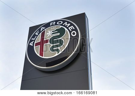 Prague, Czech Republic - January 20: Alfa Romeo Car Logo On Dealership Building On January 20, 2017