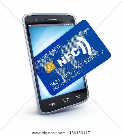 Phone and card NFC on white background. 3d illustration