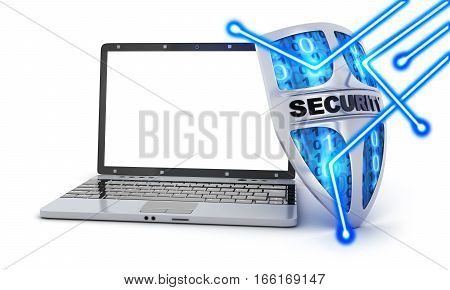 Abstract shield antivirus and white screen laptop. 3d illustration