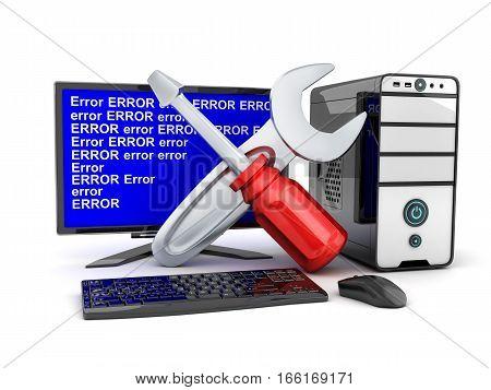 Broken computer and repair symbol. 3d illustration